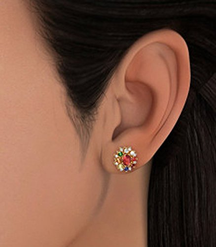 Or jaune 18 K 0,22 CT TW White-diamond (IJ | SI) et Navaratna Boucles d'oreille à tige