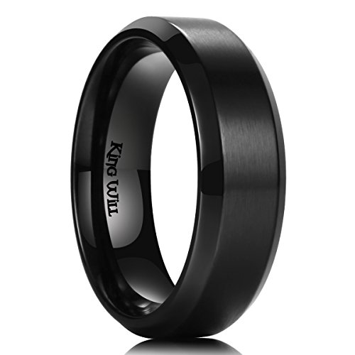 King Will Mens 7MM Black Titanium Ring Brushed Matte Finish Comfort Fit Wedding Band (13) ()