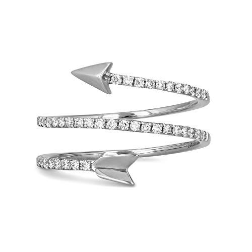18K White Gold Diamond Arrow Wrap Around Ring, 0.33 cttw, Size 5