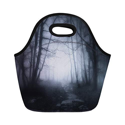 Semtomn Neoprene Lunch Tote Bag Ghost Path in Dark and Scary Forest Tree Creepy Reusable Cooler Bags Insulated Thermal Picnic Handbag for Travel,School,Outdoors,Work -