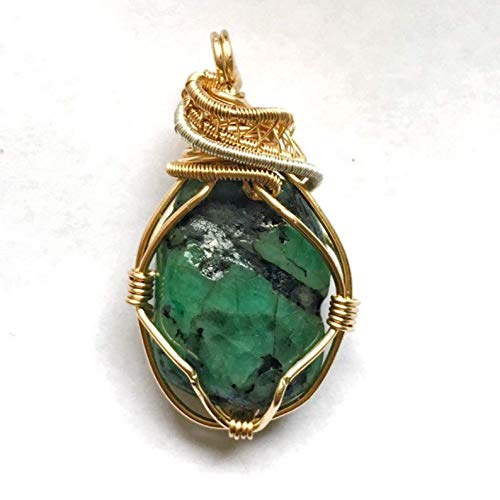 Handmade Emerald Crystal Necklace Wire Wrapped in 14k Gold & Sterling Silver | May Birthstone Jewelry