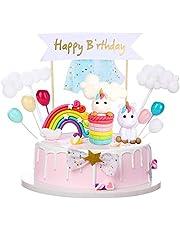 Taartdecoratie verjaardag eenhoorn, 16 stuks taarttopper met Happy Birthday-slinger, regenboogballonnen, wolk, gepersonaliseerde eenhoorn, taartdecoratie voor jongens en meisjes, kinderen, taartdecoratie verjaardag