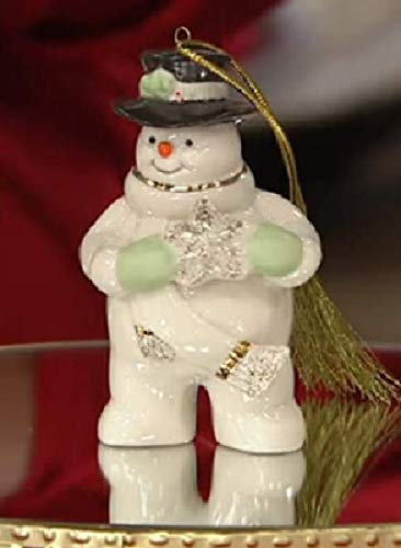 Lenox Holiday Snowman with snowflake ornament Ivory Porcelain 24 k Gold New In box ()