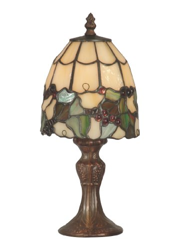 Dale Tiffany TA70709 Tiffany Grape Accent Lamp, Antique Brass and Art Glass Shade ()