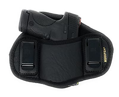 Tactical Pancake Gun Holster Houston - ECO Leather Concealed Carry Soft Material | Suede Interior for Protection | IWB | Right Hand | Fit: Glock 19 23 32 26 27 33 30 | M&P Shield, XDs, Taurus PT111
