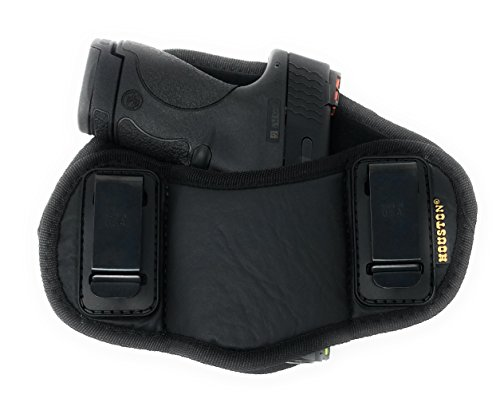 Tactical Pancake Gun Holster by Houston | ECO Leather Concealed Carry Soft Material | Suede Interior for Protection | IWB | Right Hand | Fit: Glock 19 23 32 26 27 33 30 | M&P Shield, XDs, Taurus PT111 (Suede Holster Leather Lined)