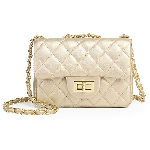 - Volcanic Rock Women Quilted Crossbody Bag Girls Side Purse and Shoulder Handbags Designer Clutch with Chain (Gold)