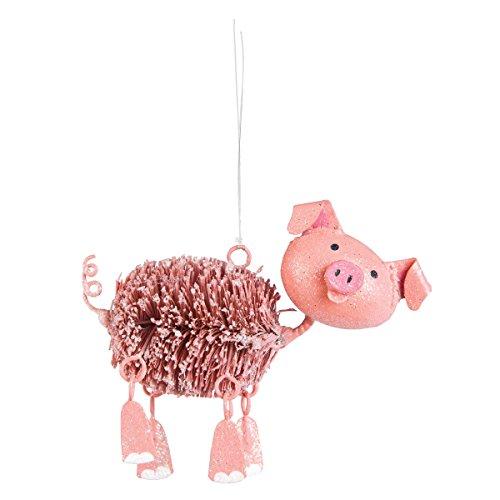Pom Pom Pink Pig Christmas Ornament, Dangle Legs
