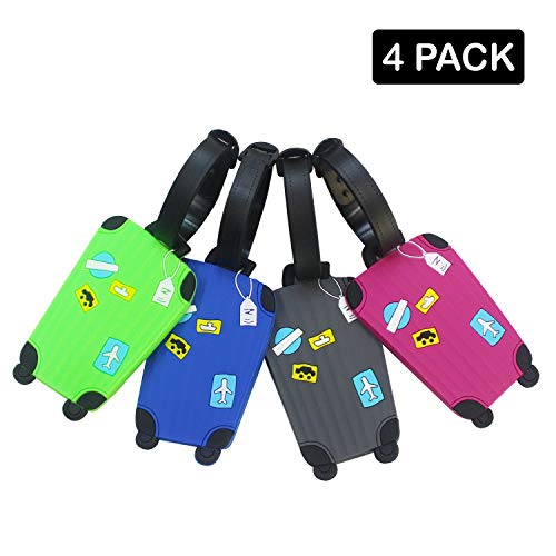 BWIN Colorful Luggage Pattern Rubber ID Tags Business Card Holder for Luggage Baggage Travel Identifier, Suitcase Label Set of 4 Pieces (Luggage Pattern) ()