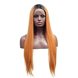 Arimika Straight Short Dark Roots Ombre Orange Synthetic Lace Front Wig