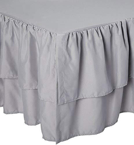 American Baby Company Double Layer Ruffled Crib Skirt, Grey, for Boys and Girls