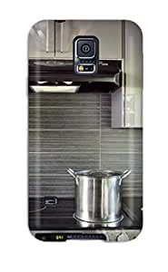 Hot UCdFtaM2284CoERF Case Cover Protector For Galaxy S5- Sleek Steel Gray Kitchen With Stove And Backsplash