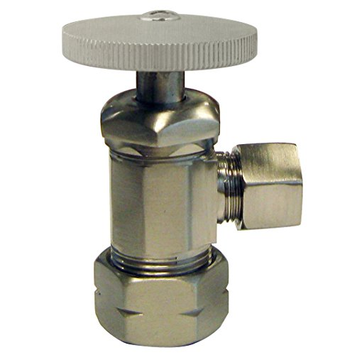 Compression Outlet Round Handle - Westbrass Round Handle Angle Stop Shut Off Valve, 1/2