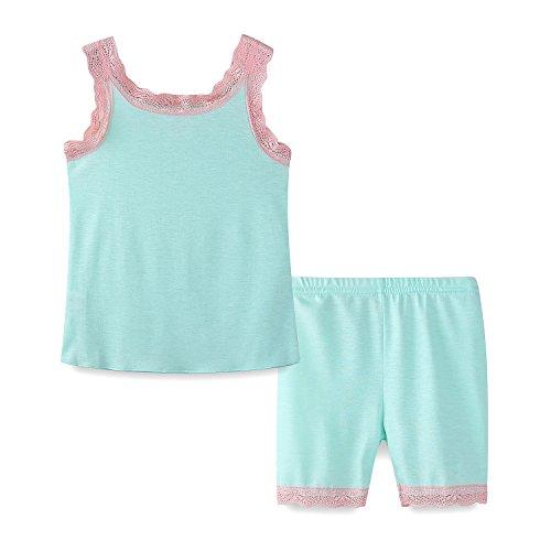 Mud Kingdom Toddler Girl Pajama Set Mint Green Lace Summer Holiday 3T ()