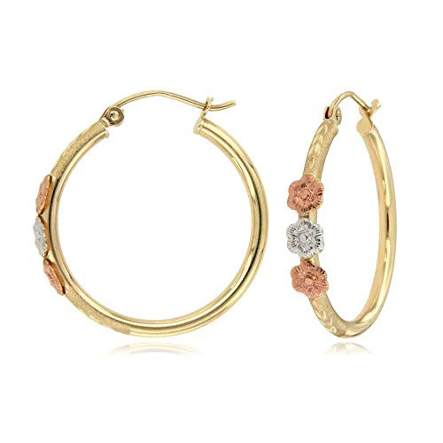 TousiAttar Tri Color Nice flowers Hoop Earrings With Roses - 14k Gold Earring for Women - Unique Jewelry for Everyday - Size 1