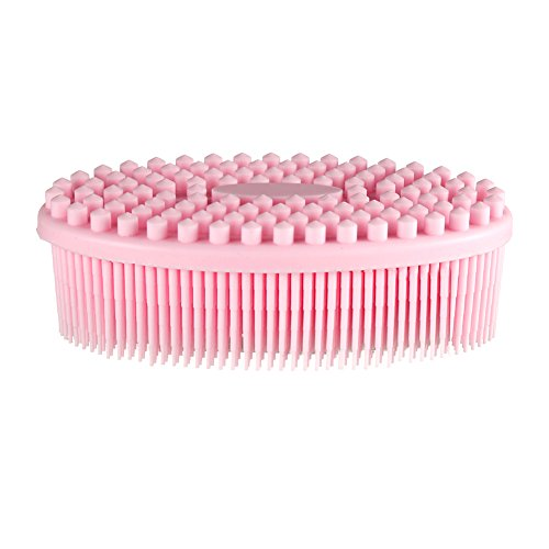 Baby Massage Treatment (Pretty See Silicone Bath Body Brush Shower Massage Scrubber for Cellulite Treatment & Skin Exfoliation, Pink)