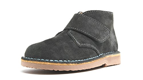 POM Shoes Madrid Mini Gray & Blue Velcro Boots with Leather Lining and Blue Accents 27 EU (8 M US Toddler) by POM Shoes (Image #8)