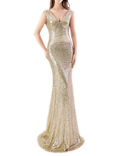 JYDress vestido de lentejuelas sin mangas, con cuello en V, vestido de fiesta de dama. La Luz De Oro