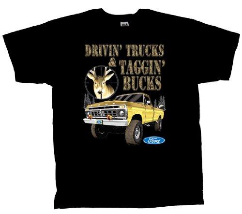 Ford Pickup Truck T-Shirt Drivin Trucks Taggin Bucks-XXXL Black