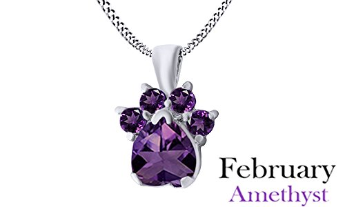 Heart & Round Cut Purple Simulated Amethyst Dog Paw Pendant In 14K White Gold Over Sterling (14k White Gold Amethyst Pendant)