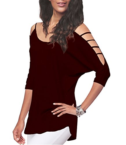 Women's Off Shoulder Shirt Half Sleeve Tunic Top Casual Blouse,Burgundy,M