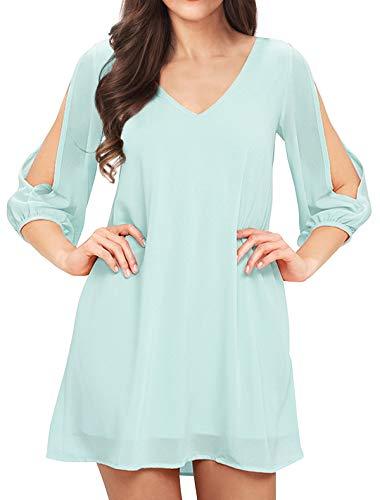 Noctflos Women Summer Cold Shoulder Floral V Neck Shift Short Dress (X-Large, Light Blue)
