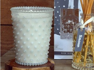 Snow #85 Hobnail Glass Candle by Simpatico Home ()