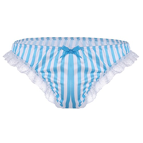 Satin Striped Panties - ACSUSS Men's Shiny Silky Satin Frilly Striped Print Sissy Bikini Briefs Underwear Blue Large(Waist 29.0-43.0