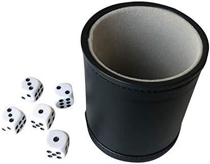 YH Poker W/ürfelbecher mit Filzfutter und 5 W/ürfeln