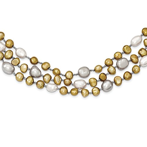 ICE CARATS 925 Sterling Silver 7 9mm Freshwater Cultured Pearls 3 Strand Chain Necklace Pearl by ICE CARATS