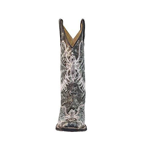 Stivali Da Donna Con Punta Quadrata Western Ricamati A Forma Di Ala E Croce Grigi, Blu