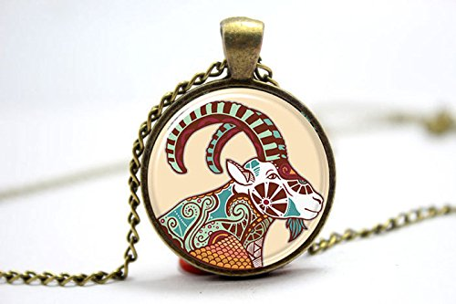 Pretty Lee 2015 Fashion Zodiac Capricorn Necklace Capricorn Art Pendant Charm With Necklace Chain Bronze Glass Photo Cabochon Necklace Christmas gift