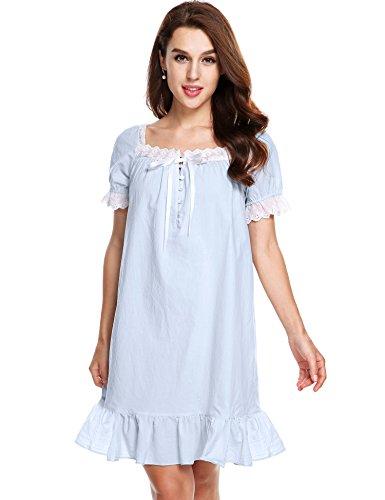 Avidlove Womens Cotton Victorian Vintage Short Sleeve White Classic Nightgown Sleepwear,Light Blue,Small