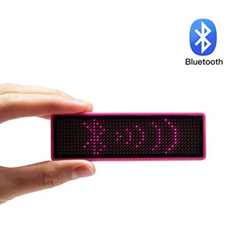 VBLab Wireless Bluetooth LED Name Badge Tag (Pink, 1 Pack)