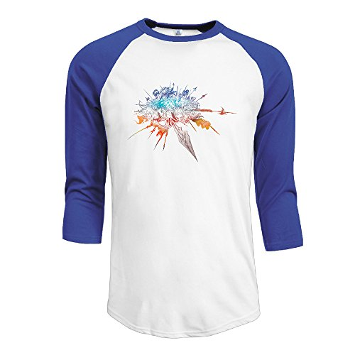 Logon Men's Kingsglaive Final Fantasy XV Customized 100% Cotton Three-Quarter Sleeve Raglan Henley Shirt RoyalBlue S