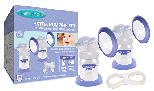 Lansinoh Extra Pumping Set, for On-the-Go pumping moms, compatible with Lansinoh Breast Pumps. Includes: Extra Flanges, Bottles, Tubing and Parts, Hygienic, Closed System, BPS and BPA Free (Closed System)