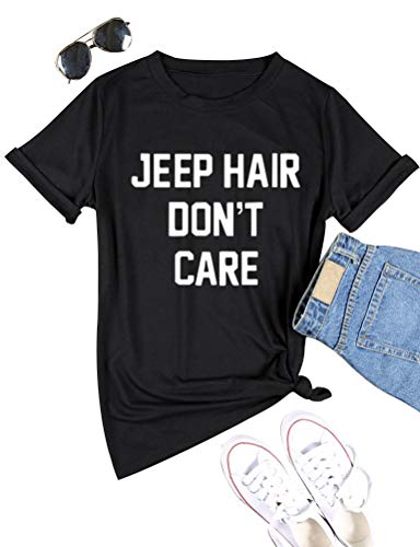 OUNAR Jeep Hair Don't Care Shirt Women Jeep Girl Life T-Shirt Muscle Tank Size US L (Black)