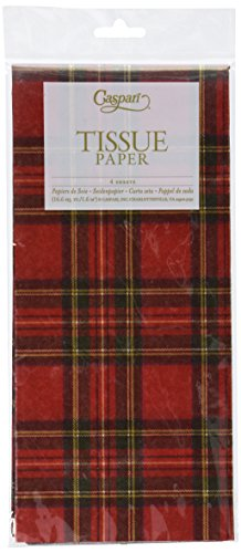 Entertaining with Caspari Royal Plaid Tissue Paper, Package of 4 Sheets