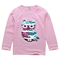 Girls Children Kids Magic Sequin T-Shirt Cotton Pullover Tops