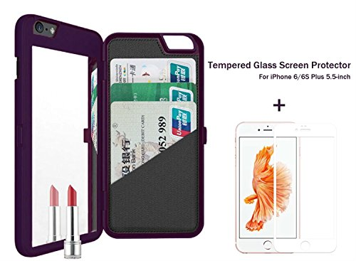 iPhone 6/ 6s Plus Case (5.5 inch), Welity Hidden Mirror Back Cover Wallet Case with Card Slots & Kickstand Function + Tempered Glass Screen Protector for Apple iPhone 6/6s Plus (Black)