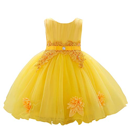 YFCH Baby Toddler Girls Flower Dress Wedding and Photography Dress Birthday Ribbon Lace Studded Diamond Princess Tutu Dresses 2T Yellow Dress