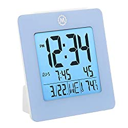 Marathon CL030050BL Digital Dual Alarm Clock with Day, Date, Temperature and Backlight. Color-Blue. Batteries Included. Latest Edition