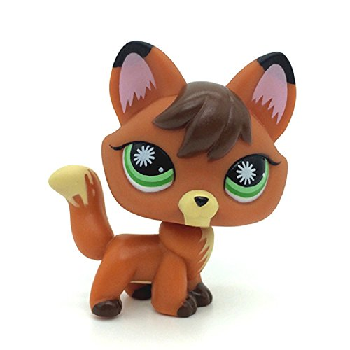 ZAD Littlest Pet Shop Orange Redish Brown Firefox Fox Green Eyes Dog LPS #807 -