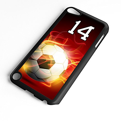 iPod Touch Case Fits 6th Generation or 5th Generation Soccer Ball #0400 Choose Any Player Jersey Number 14 in Black Plastic Customizable by TYD Designs ()