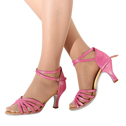CCOOfhhc Women's Professional Latin Salsa Dance Shoes Satin Salsa Ballroom Wedding Dancing Shoes High Heel Sandals Hot Pink by CCOOfhhc (Image #4)