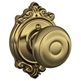 Georgian Knob with Brookshire Trim Non-Turning Lock, Antique Brass (F170 GEO 609 BRK)