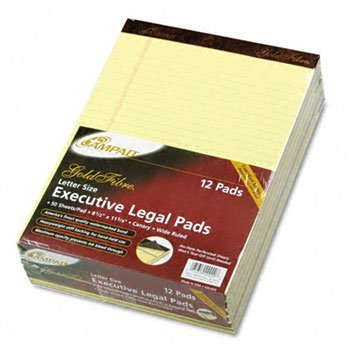 Ampad® Gold Fibre® 16-lb. Watermarked Writing Pads PAD,LGL RULED,PRF,LTR,CAN 4090312 (Pack of3) by Ampad