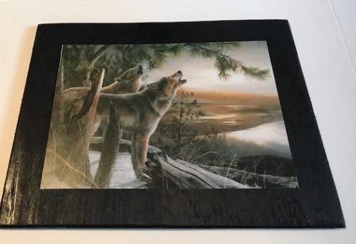- CS Shop Howling Wolves Lodge Cabin Country Scene Home Wall Art Wolf Decor Wood Sign 7x9'',