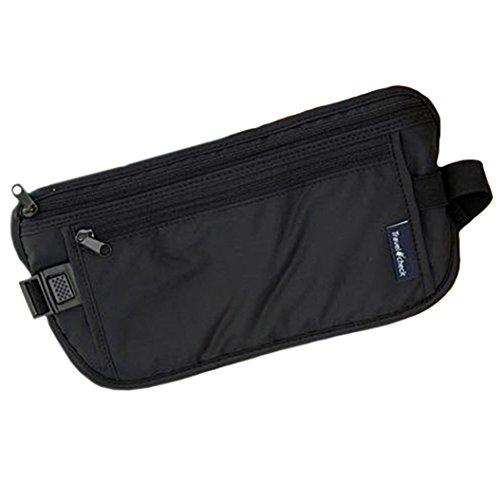 Afco Durable Lightweight Travel Pouch Hidden Compact Security Money Waist Bag – (Black) For Sale
