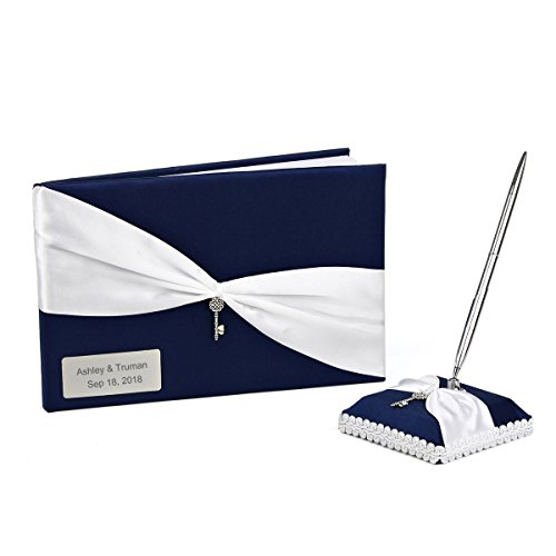 OnePlace Gifts Personalized Wedding Bridal Reception Guestbook and Pen Set Navy Blue with Antique Silver Charm